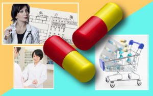 【薬の種類をイメージ】医師と処方箋、患者へ薬を手渡す薬剤師、カートに入ったOTC薬